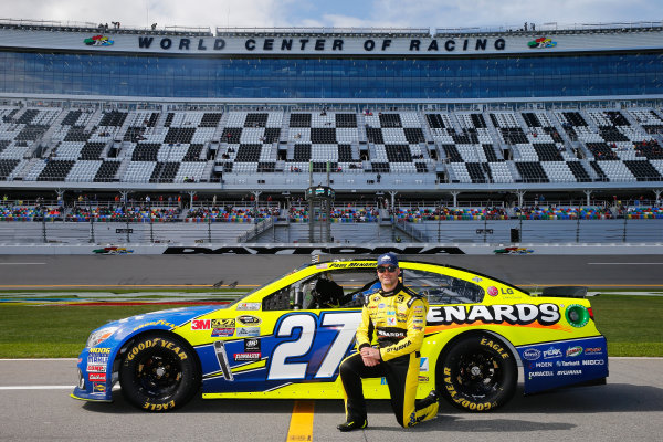 13-21 February, 2016, Daytona Beach, Florida USA   Paul Menard, driver of the #27 Peak Antifreeze/Menards Chevrolet, poses with his car after qualifying for the NASCAR Sprint Cup Series Daytona 500 at Daytona International Speedway on February 14, 2016 in Daytona Beach, Florida.   LAT Photo USA via NASCAR via Getty Images