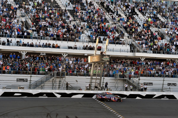 13-21 February, 2016, Daytona Beach, Florida  Denny Hamlin, FedEx Express Toyota Camry celebrates his win  ? 2016, Nigel Kinrade LAT Photo USA