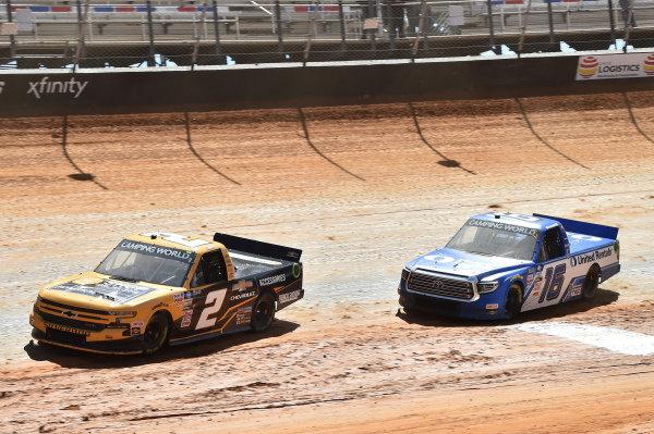 #2: Sheldon Creed, GMS Racing, Chevrolet Silverado Chevy Accessories, #16: Austin Hill, Hattori Racing Enterprises, Toyota Tundra United Rentals