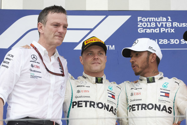 James Allison, Mercedes AMG F1 Technical Director, Valtteri Bottas, Mercedes AMG F1, Lewis Hamilton, Mercedes AMG F1 celebrate on the podium