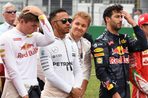 Max Verstappen (NED) Red Bull Racing, Lewis Hamilton (GBR) Mercedes AMG F1, Nico Rosberg (GER) Mercedes AMG F1 and Daniel Ricciardo (AUS) Red Bull Racing on the grid at Formula One World Championship, Rd12, German Grand Prix, Race, Hockenheim, Germany, Sunday 31 July 2016. BEST IMAGE