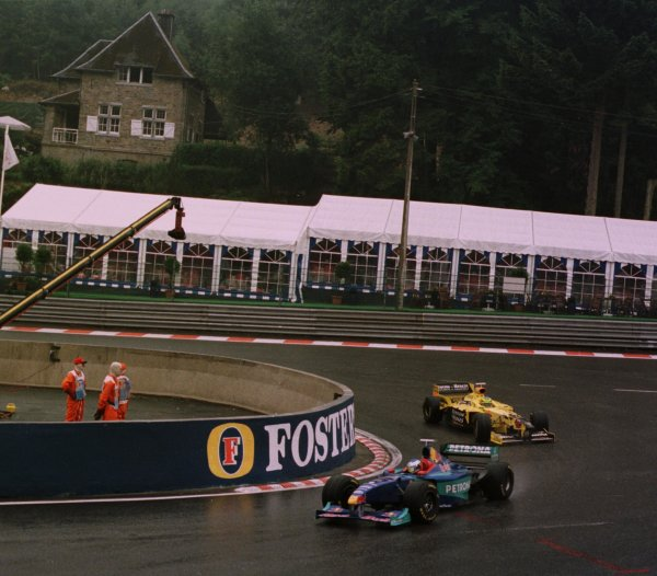 1998 Belgian Grand Prix.Spa-Francorchamps, Belgium. 28-30 August 1998.Jean Alesi (Sauber C17 Petronas Ferrari) leads Ralf Schumacher (Jordan 198 Mugen Honda) around La Source Hairpin. They finished in 3rd and 2nd positions respectively.World Copyright - Steve Etherington/LAT Photographic