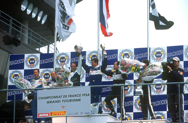 2001 French GT ChampionshipLe Mans, France. 25th March 2001.Race 2 winners, Soulan and Goueslard - podium.World Copyright: DPPI / LAT Photographicref: 13mb Digital Image