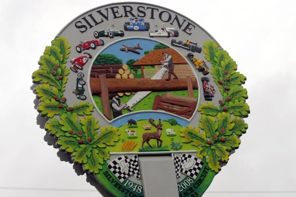 The new Silverstone Village Sign, depicting the village's association with the racing circuit and its previous guise as an RAF airfield. Silverstone Sign Unveiling, Silverstone, England, 9 November 2008.