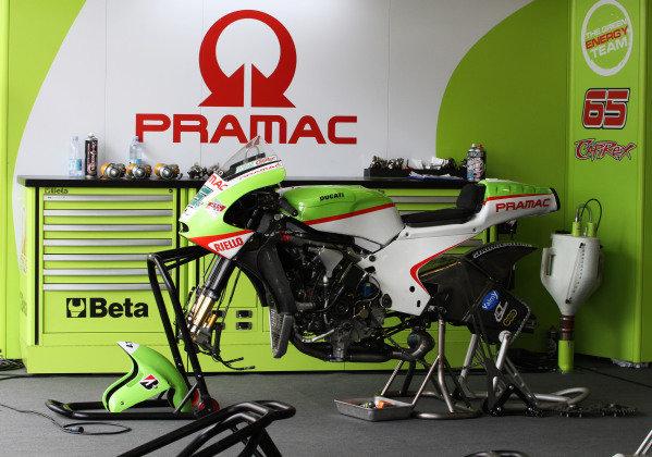 British Grand Prix. Silverstone, England. 10th-12th June 2011. Spare Pramac Ducati in the garage for Loris Capirossi. World Copyright: Kevin Wood/LAT Photographic. ref: Digital Image