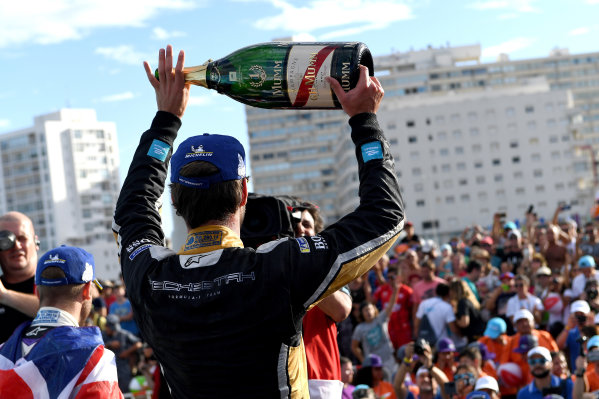 Jean-Eric Vergne (FRA), TECHEETAH, Renault Z.E. 17, sprays the champagne on the podium.