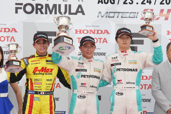 2014 All-Japan F3 Championship. Motegi, Japan. 23rd - 24th August 2014. Rd 5. Race 1 - Winner Takamoto Katsuata ( #1 PETRONAS TEAM TOM'S ) 2nd position Mitsunori Takaboshi ( #22 B-MAX Racing Team with NDDP ) 3rd position Kenta Yamashita ( #36 PETRONAS TEAM TOM'S ) podium, portrait. World Copyright: Yasushi Ishihara / LAT Photographic. Ref:  2014JF3_Rd10&11_005.JPG