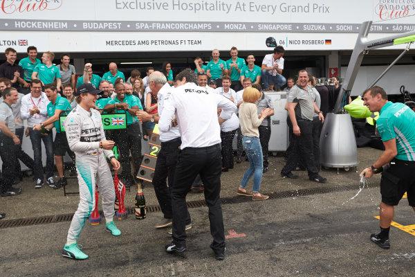 Hockenheimring, Hockenheim, Germany. Sunday 20 July 2014. Nico Rosberg, Mercedes AMG, 1st Position, and the Mercedes team celebrate victory.  World Copyright: Steve Etherington/LAT Photographic. ref: Digital Image SNE27104