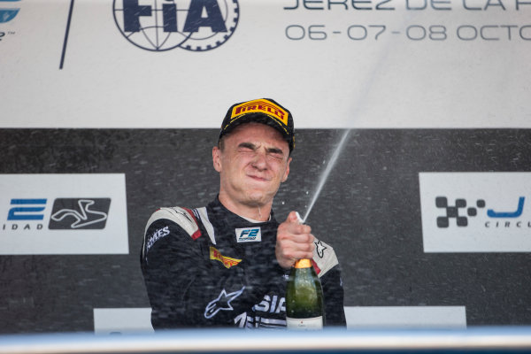 2017 FIA Formula 2 Round 10. Circuito de Jerez, Jerez, Spain. Sunday 8 October 2017. Artem Markelov (RUS, RUSSIAN TIME) on the podium. Photo: Andrew Ferraro/FIA Formula 2. ref: Digital Image _FER3739