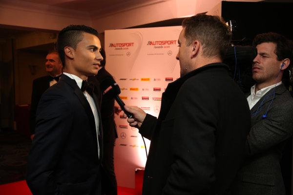 2016 Autosport Awards. Grosvenor House Hotel, Park Lane, London. Sunday 4 December 2016.  Pascal Wehrlein, Manor Racing MRT.   World Copyright: /LAT Photographic. ref: Digital Image JL3_9045