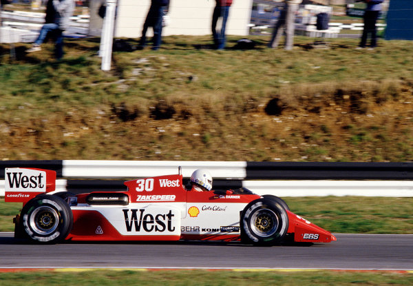 1985 European Grand Prix.Brands Hatch, England.4-6 October 1985.Christian Danner (Zakspeed 841). 