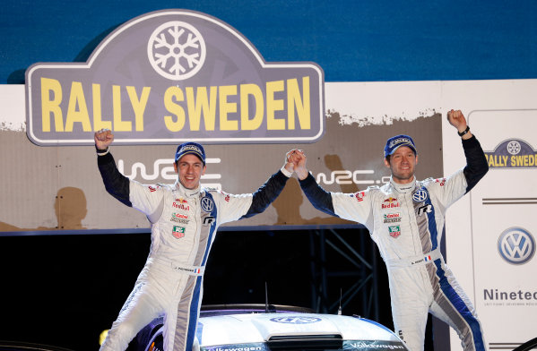 2013 World Rally Championship Swedish Rally 7th - 10th February 2013 Sebastien Ogier, Julien Ingrassia, VW, podium Worldwide Copyright: McKlein/LAT