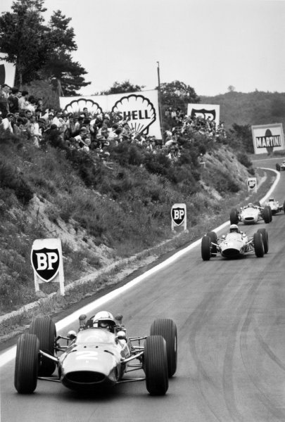1965 French Grand Prix.Charade, Clermont-Ferrand, France.25-27 June 1965.John Surtees (Ferrari 158), 3rd position, leads Lorenzo Bandini (Ferrari 1512), 8th position, Richie Ginther (Honda RA272), retired and Jim Clark (Lotus 25), 1st position, action.World Copyright - LAT Photographic.Ref: B/W Print.