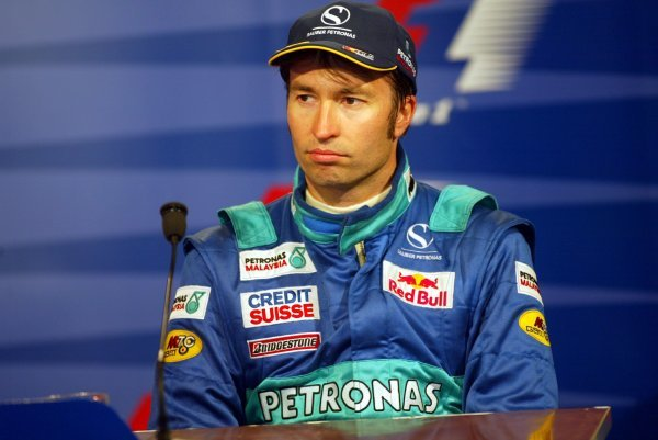 Heinz-Harald Frentzen (GER) Sauber in the post race press conference.Formula One World Championship, Rd15, United States Grand Prix, Race Day, Indianapolis, USA, 28 September 2003.DIGITAL IMAGE