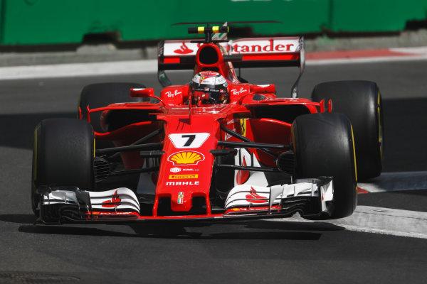 Baku City Circuit, Baku, Azerbaijan. Friday 23 June 2017. Kimi Raikkonen, Ferrari SF70H, lifts a wheel bouncing over a kerb. World Copyright: Glenn Dunbar/LAT Images ref: Digital Image _X4I0234