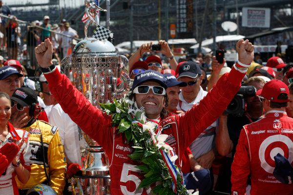 27 May, 2012, Indianapolis, Indiana, USADario Franchitti celebrates his third Indy 500 win.(c)2012, Phillip AbbottLAT Photo USA