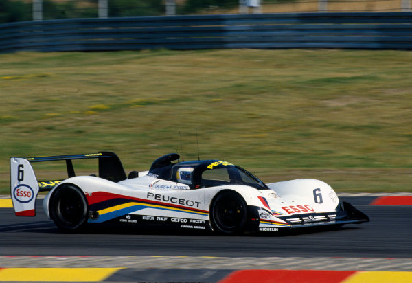 Nurburgring 430 Kms. Nurburgring, Germany. 18th August 1991. Rd 5. Keke Rosberg/Yannick Dalmas (Peugeot 905 Evo 1), retired, action. World Copyright: LAT Photographic. Ref:  91 SWC NUR 04
