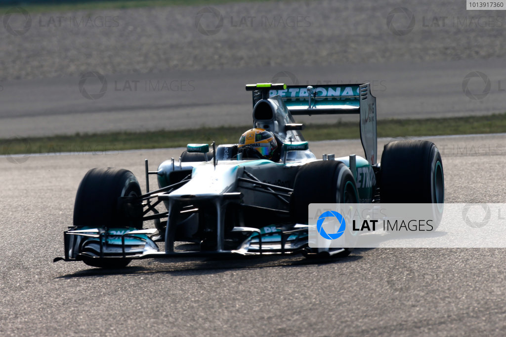 Shanghai International Circuit, Shanghai, China Sunday 14th April 2013 Lewis Hamilton, Mercedes W04.  World Copyright: Glenn Dunbar/LAT Photographic ref: Digital Image _89P8465