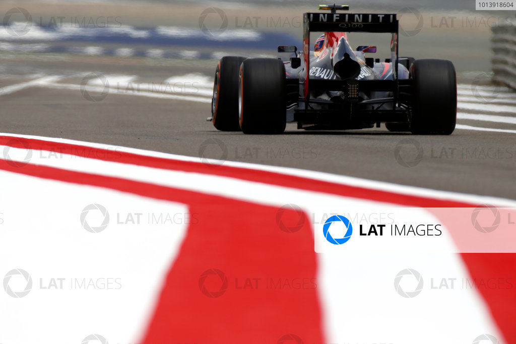 Bahrain International Circuit, Sakhir, Bahrain Friday 19th April 2013 Mark Webber, Red Bull RB9 Renault.  World Copyright: Glenn Dunbar/LAT Photographic ref: Digital Image _89P0084