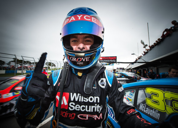 2016 V8 Supercar Championship Round 3.  Phillip Island SuperSprint, Phillip Island Grand Prix Circuit, Victoria, Australia. Friday 15th April to Sunday 17th April 2016. Scott McLaughlin driver of the #33 Wilson Security Racing GRM Volvo S60. World Copyright: Daniel Kalisz/LAT Photographic Ref: Digital Image 160416_V8SCR3_PI_DKIMG_2223.JPG