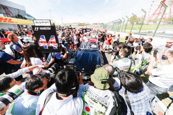 Suzuka Circuit, Japan. Sunday 08 October 2017. Lewis Hamilton, Mercedes AMG, during the drivers parade. World Copyright: Glenn Dunbar/LAT Images  ref: Digital Image _31I7463