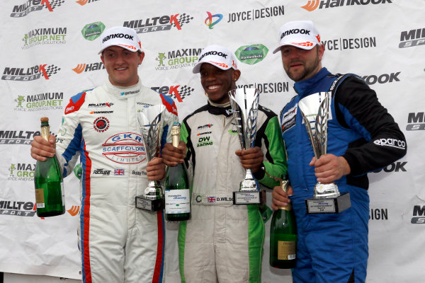 2017 Volkswagen Racing Cup, Donington Park, Leicestershire. 23rd - 24th September 2017. Race 2 Podium (l-r) Bobby Thompson, Darrelle Wilson, Tom Walker. World Copyright: JEP/LAT Images