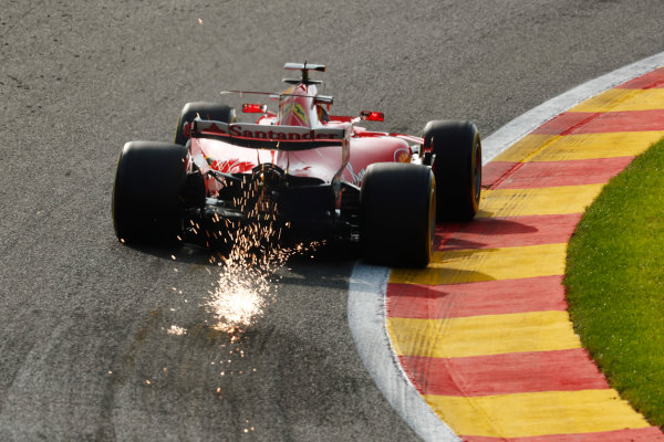 Spa Francorchamps, Belgium.  Friday 25 August 2017. Sebastian Vettel, Ferrari SF70H, strikes up sparks. World Copyright: Sam Bloxham/LAT Images  ref: Digital Image _W6I8009