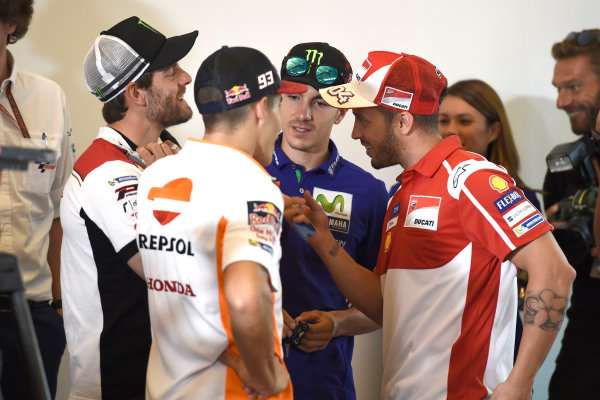 2017 MotoGP Championship - Round 13 Misano, Italy. Thursday 7 September 2017 Maverick Viñales, Yamaha Factory Racing, Cal Crutchlow, Team LCR Honda, Marc Marquez, Repsol Honda Team, Andrea Dovizioso, Ducati Team World Copyright: Gold and Goose / LAT Images ref: Digital Image 690271