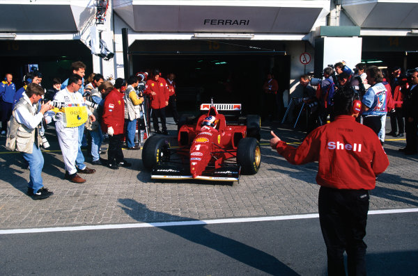 Nurburgring, Germany.26-28 April 1996.Michael Schumacher (Ferrari F310), 2nd position, exits his garage.World Copyright: LAT Photographic.Ref:  96 EUR 02.