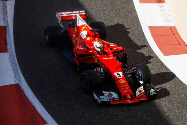 Yas Marina Circuit, Abu Dhabi, United Arab Emirates. Wednesday 29 November 2017. Sebastian Vettel, Ferrari SF70H. World Copyright: Joe Portlock/LAT Images  ref: Digital Image _R3I3448