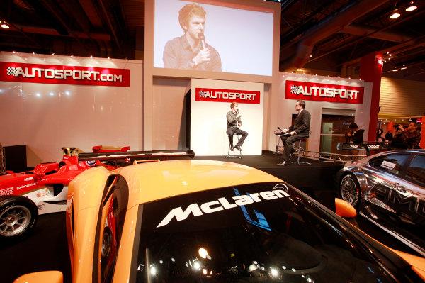 NEC, Birmingham. 15th January 2012.Oliver Turvey speaking on the Autosport stage.World Copyright:Alastair Staley/LAT Photographicref: Digital Image _MG_9885
