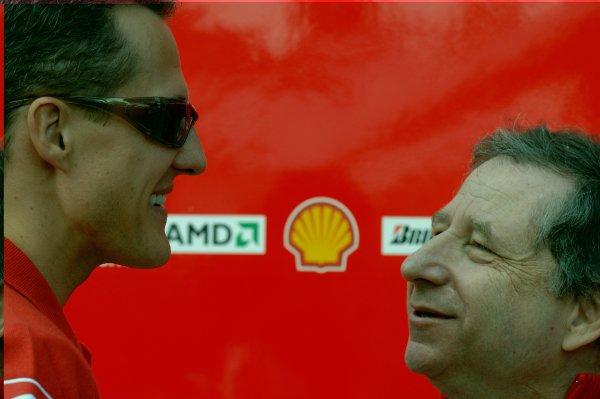 2006 Australian Grand Prix - Saturday Qualifying, Albert Park, Melbourne. Australia. Michael Schumacher, Ferrari 248F1, with Ferrari Team Principal Jean Todt, portrait. 1st April 2006  World Copyright: Steve Etherington/LAT Photographic ref: 48mb Hi Res Digital Image Only
