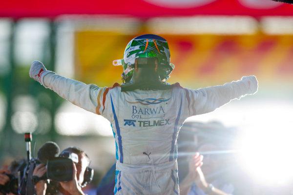 Silverstone, England. 11th July.Sunday Race. Sergio Perez (MEX, Barwa Addax Team) celebrates his victory.Photo: Andrew Ferraro/GP2 Media Service.Ref: __Q0C8224 jpg