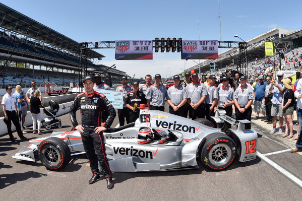 Verizon IndyCar Series Indianapolis 500 Carb Day Indianapolis Motor Speedway, Indianapolis, IN USA Friday 26 May 2017 Will Power, Team Penske Chevrolet and crew celebrate the win of the pit stop competition.  World Copyright: Scott R LePage LAT Images ref: Digital Image lepage-170526-indy-10065