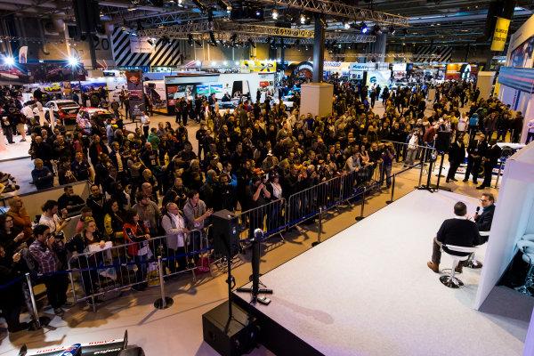 Autosport International Exhibition. National Exhibition Centre, Birmingham, UK. Sunday 15 January 2017. Jacques Villeneuve is interviewed on the Autosport stage Photo: Sam Bloxham/LAT Photographic ref: Digital Image _SLB5130