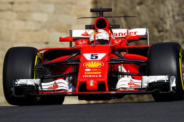 Baku City Circuit, Baku, Azerbaijan. Friday 23 June 2017. Sebastian Vettel, Ferrari SF70H.  World Copyright: Steven Tee/LAT Images ref: Digital Image _O3I1078