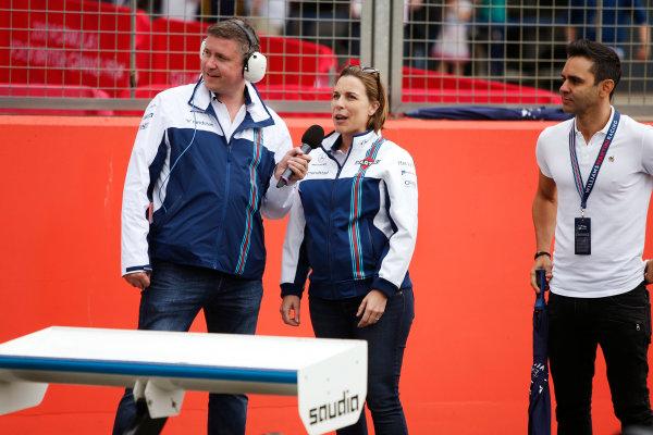 Williams 40 Event Silverstone, Northants, UK Friday 2 June 2017. David Croft, Claire Williams and Antonio Pizzonia. World Copyright: Joe Portlock/LAT Images ref: Digital Image _L5R0554