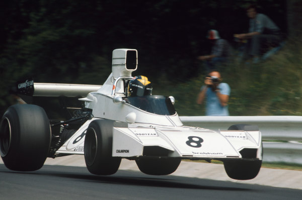 1974 German Grand Prix.  Nurburgring, Germany. 2nd - 4th August 1974. Carlos Pace, Brabham BT44 Ford, 3rd position, action. World Copyright: LAT Photographic