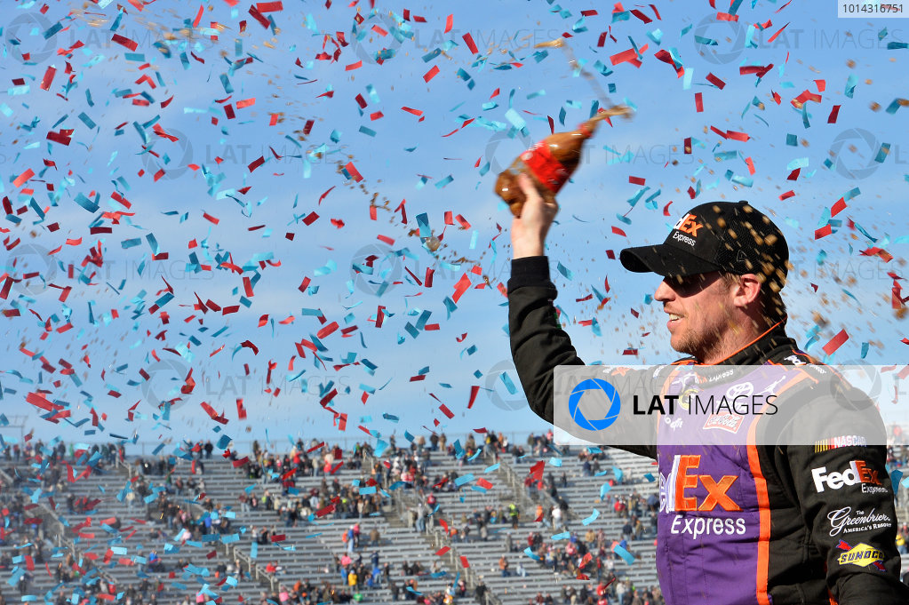 27-29 March, 2015, Martinsville, Virginia USA Denny Hamlin, FedEx Express Toyota Camry, celebrates in victory lane after winning the STP 500.  ?2015, John Harrelson / LAT Photo USA
