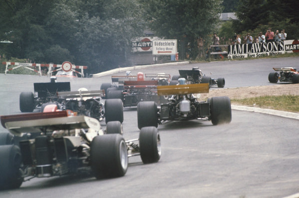 1971 German Grand Prix.  Nurburgring, Germany. 30th July - 1st August 1971.  The cars head into the South Curve at the start.  Ref: 71GER11. World Copyright: LAT Photographic
