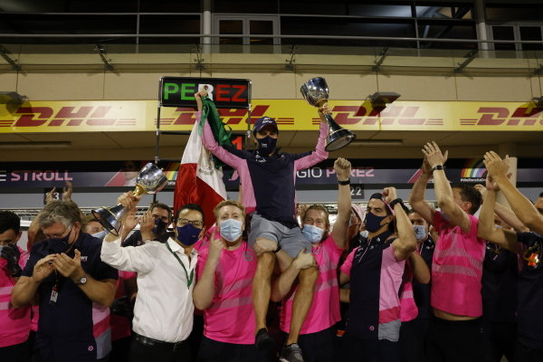 Sergio Perez, Racing Point, 1st position, celebrates with his team after the race