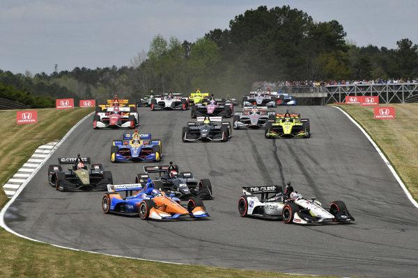 Graham Rahal, Rahal Letterman Lanigan Racing Honda, Scott Dixon, Chip Ganassi Racing Honda start