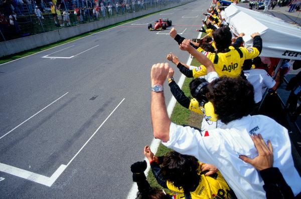 Montreal, Quebec, Canada.9-11 June 1995.Jean Alesi (Ferrari 412T2) celebrates taking 1st position for his maiden Grand Prix win.Ref-95 CAN 01.World Copyright - LAT Photographic