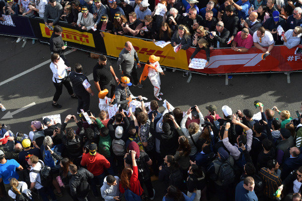 Carlos Sainz Jr, McLaren, at the Federation Square event