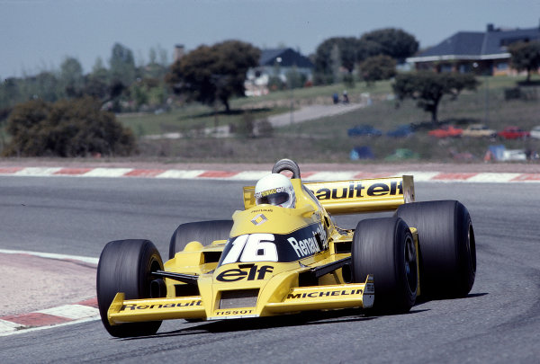 1979 Spanish Grand Prix.Jarama, Madrid, Spain.27-29 April 1979.Rene Arnoux (Renault RS01) 9th position.Ref-79 ESP 13.World Copyright - LAT Photographic