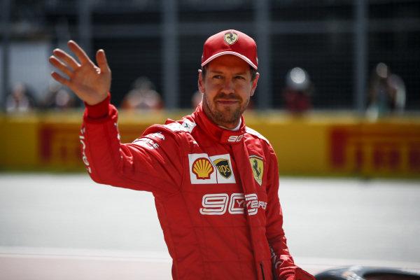 Sebastian Vettel, Ferrari celebrates taking pole position in Parc Ferme