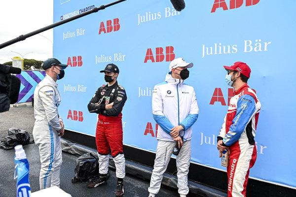 Stoffel Vandoorne (BEL), Mercedes Benz EQ, Pascal Wehrlein (DEU), Tag Heuer Porsche, Maximilian Guenther (DEU), BMW I Andretti Motorsport, and Alexander Sims (GBR), Mahindra Racing, after Qualifying
