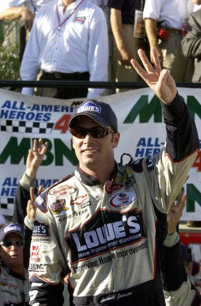 2002 NASCAR,Dover Downs,Sept 20-22, 20022002 NASCAR, Dover,Del . USA -Jimmie Johnson with 3 fingers for 3 wins in 2002,Copyright-Robt LeSieur2002LAT Photographic