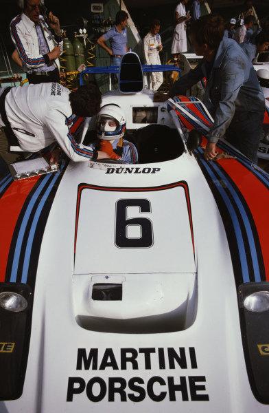 iBob Wollek / Jürgen Barth / Jacky Ickx, Martini Racing Porsche System, Porsche 936/78 in the pitlane.