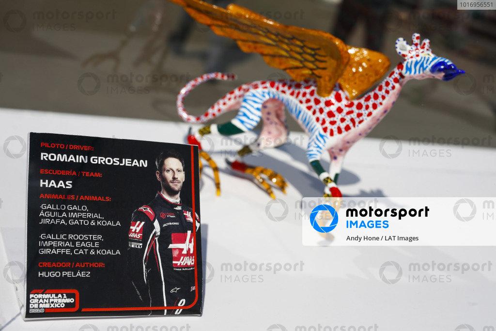 Alebrijes sculpture on the autograph table of Romain Grosjean, Haas F1 Team.